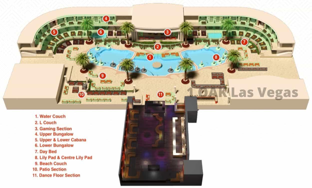 encore beach club table map